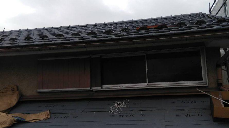 京都市左京区にて屋根の葺き替え工事  ~下屋根下地造作~