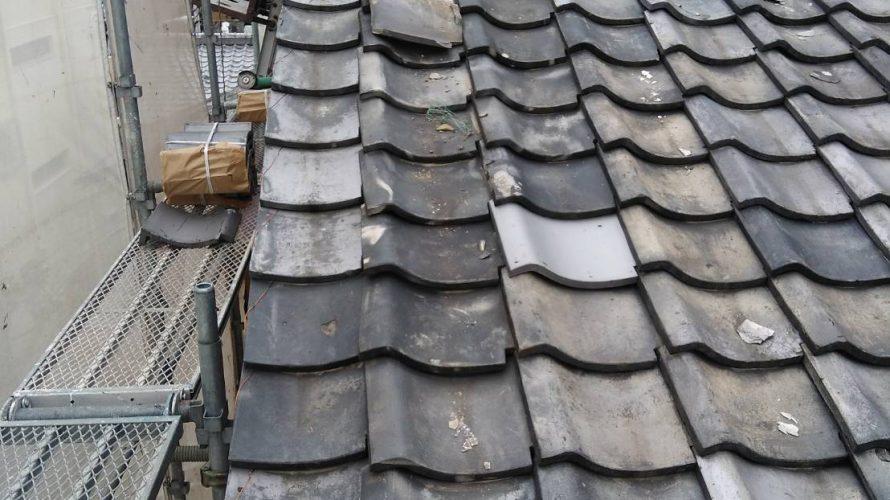 京都市右京区にて瓦の差し替え工事