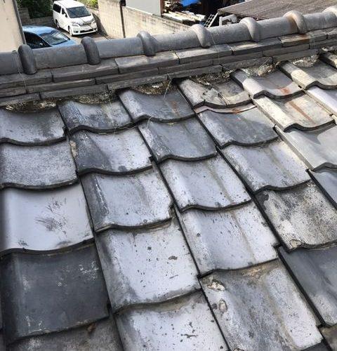 左京区にて瓦屋根の補修工事