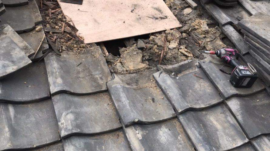 中京区にて瓦屋根の補修工事