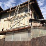 京都市下京区にて 足場組及び瓦補修垂木替え工事