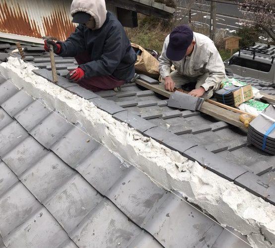 京都市山科区にて屋根修理 〜棟部分瓦設置〜